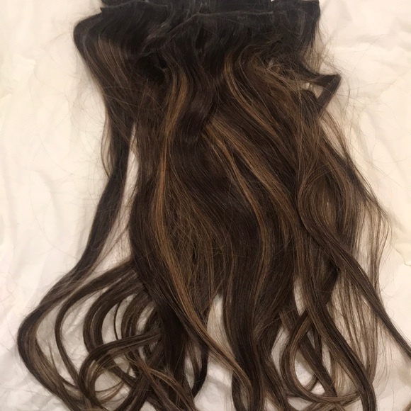 Accessories Brunette Clip On Hair 100 Real Hair Extensions Poshmark